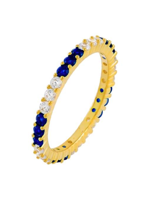 blue Brass Cubic Zirconia Geometric Minimalist Band Ring
