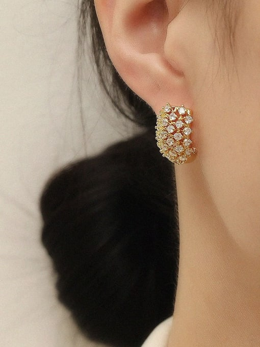 HYACINTH Brass Cubic Zirconia Geometric Vintage Stud Trend Korean Fashion Earring 1