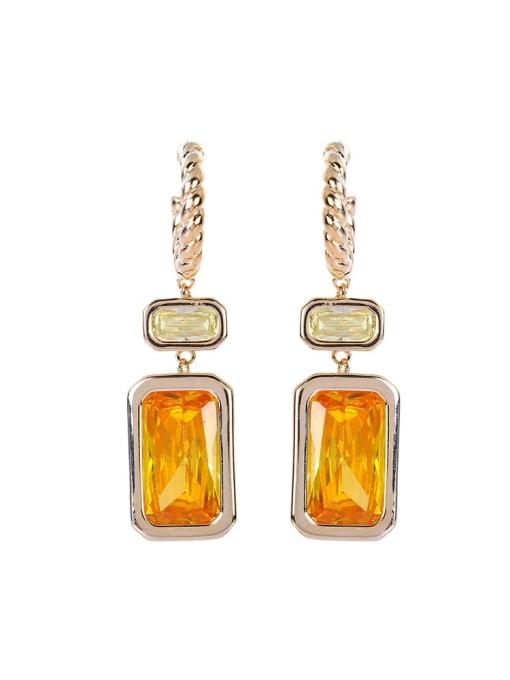 OUOU Brass Cubic Zirconia Geometric Luxury Hook Earring 3