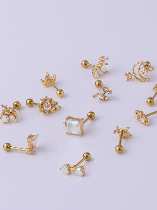 HISON Brass Cubic Zirconia Multi Color Ball Stud Earring(Single) 1