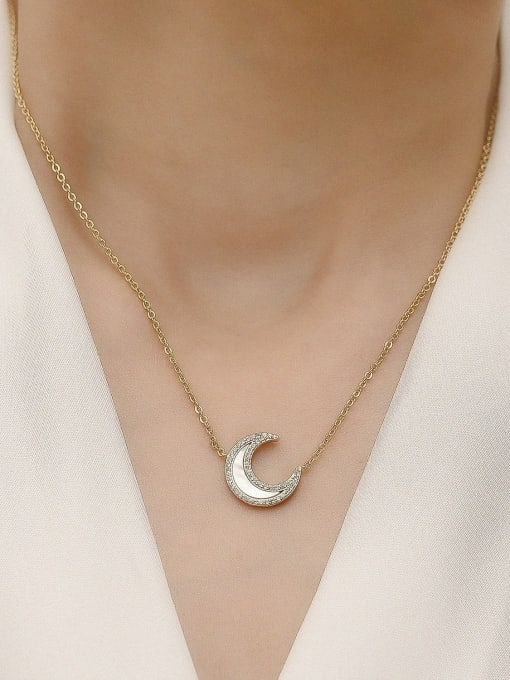 HYACINTH Brass Shell Moon Minimalist Necklace 3