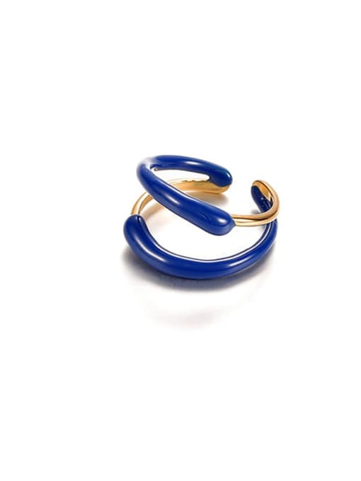 ACCA Brass Enamel Geometric Minimalist Stackable Ring