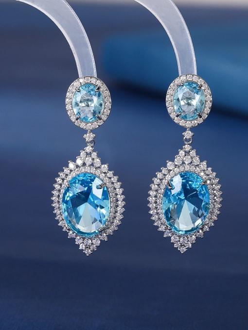 blue Brass Cubic Zirconia Water Drop Luxury Drop Earring