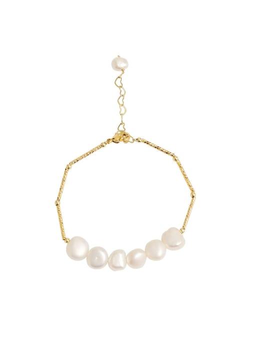 HYACINTH Brass Freshwater Pearl Geometric Minimalist Beaded Bracelet 0