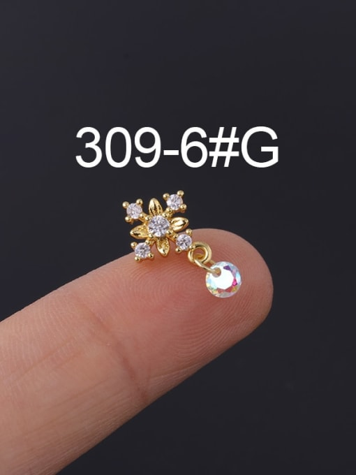 6 Gold Single Brass Cubic Zirconia Geometric Hip Hop Chandelier Earring