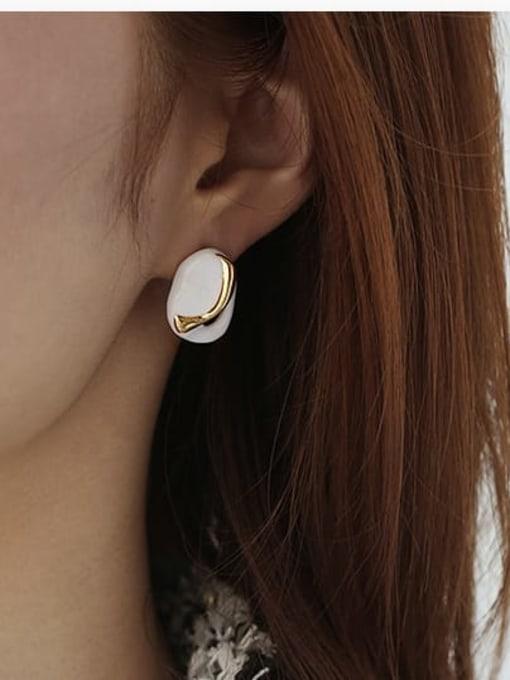 ACCA Brass Enamel Geometric Hip Hop Stud Earring 2