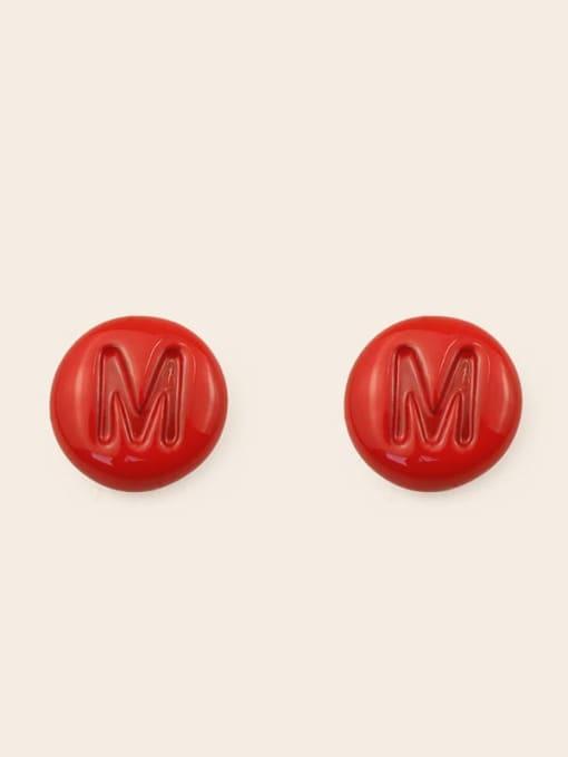 M Alloy Enamel Letter Minimalist Stud Earring