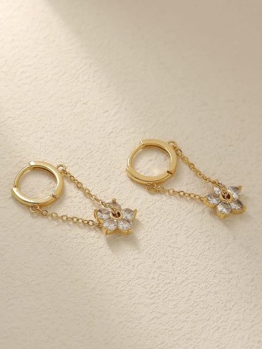 14k Gold Brass Cubic Zirconia Flower Vintage Huggie Trend Korean Fashion Earring
