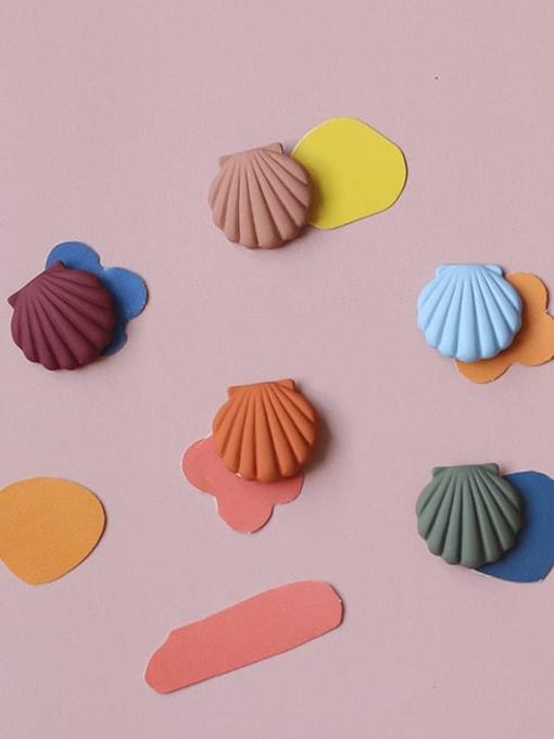 Five Color Alloy Enamel Geometric Shell Cute Stud Earring 0
