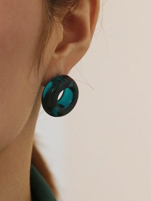(pre sale) single sale of deep sea blue Coloured Glaze Round Vintage Stud Earring( Single)