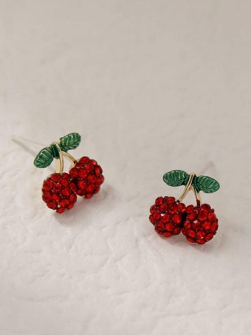 HYACINTH Brass Rhinestone Friut Cute Stud Trend Korean Fashion Earring