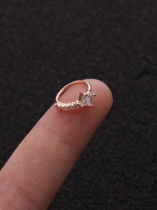 Rose Gold Square(Single) Brass Cubic Zirconia Heart Cute Huggie Earring