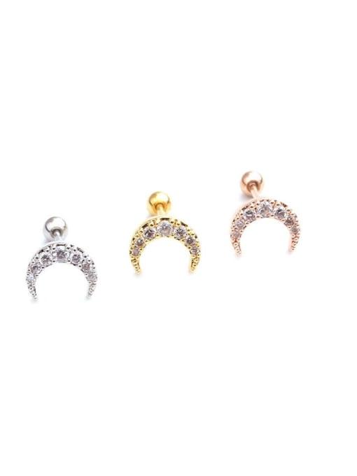 HISON Brass Cubic Zirconia Moon Cute Stud Earring 4