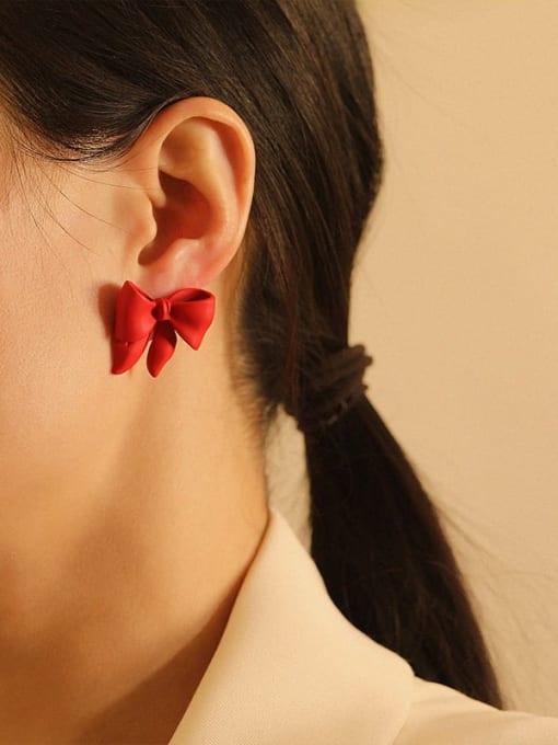 HYACINTH Brass Enamel Bowknot Vintage Stud Earring 1