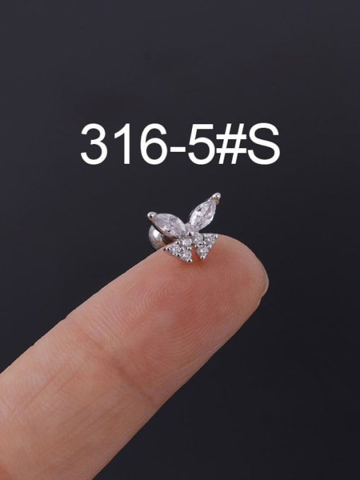 5S Stainless steel with Cubic Zirconia Ear Bone Nail/Puncture Earring