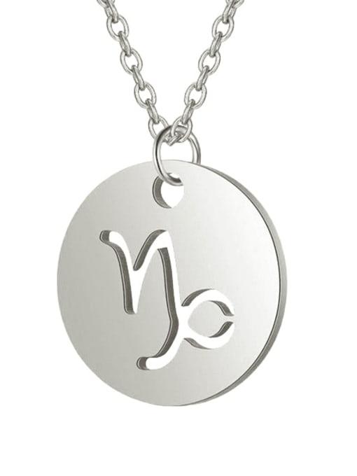 Capricorn steel Titanium Steel Constellation Minimalist  Round Pendant Necklace