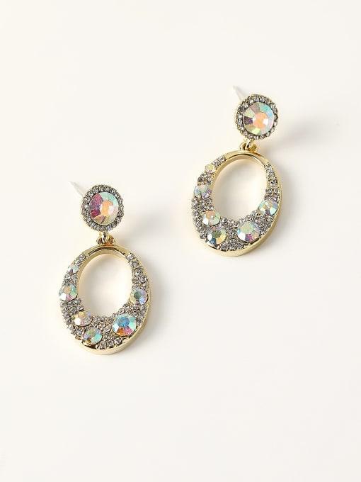 HYACINTH Brass Rhinestone Geometric Vintage Drop Earring