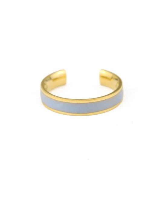 Blue grey Brass Enamel Geometric Minimalist Band Ring