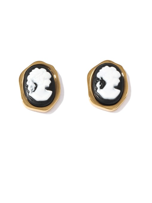 Black and white contrast Brass Acrylic Round Vintage Stud Earring