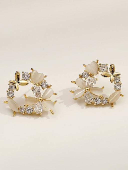14k Gold Brass Cats Eye Flower Cute Stud Earring