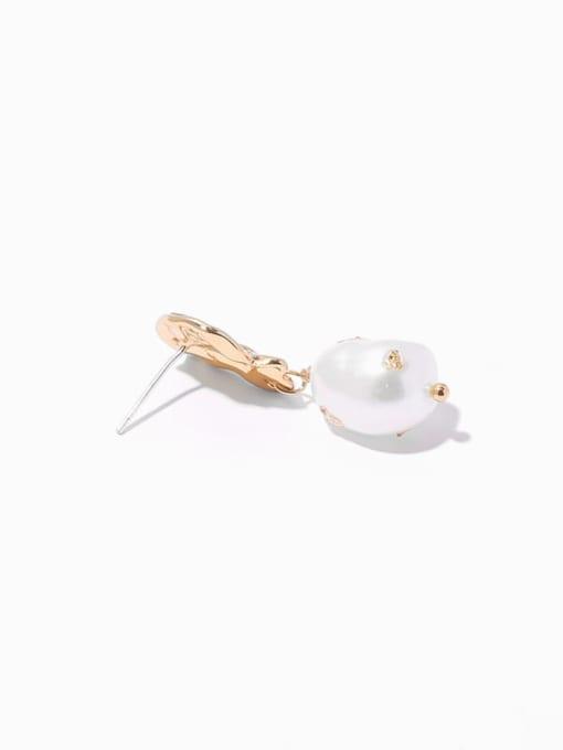 TINGS Brass Imitation Pearl Geometric Hip Hop Drop Earring 3