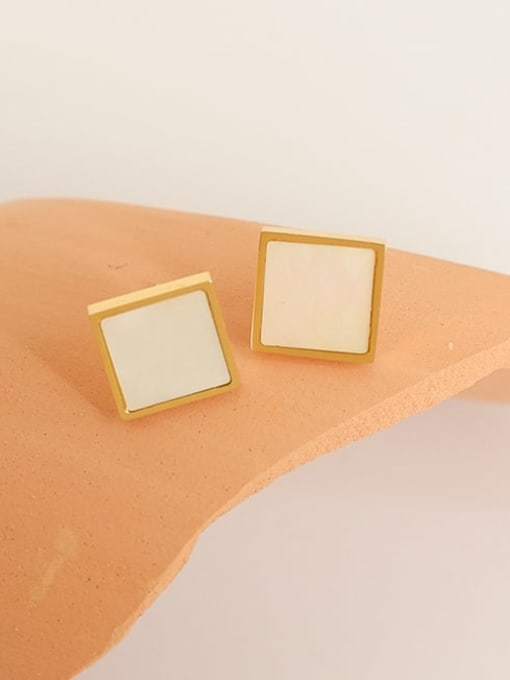 Five Color Brass Shell Geometric Minimalist Stud Earring 3