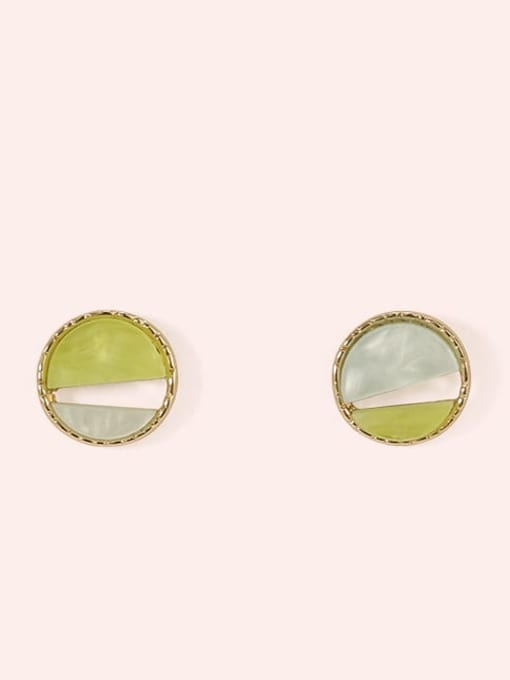 Section 5 Alloy Enamel  Cute Round Contrasting Color  Stud Earring