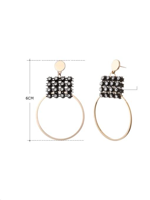 Desoto Zinc Alloy Rhinestone Geometric Minimalist Drop Earring 1