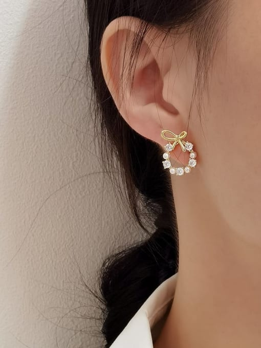 HYACINTH Brass Cubic Zirconia Bowknot Minimalist Stud Earring 1
