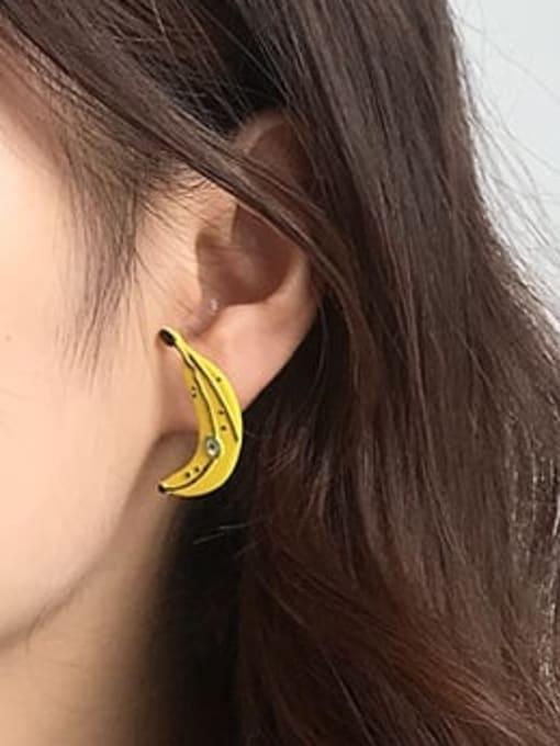 Five Color Alloy Enamel Cute Asymmetry Friut  Stud Earring 1