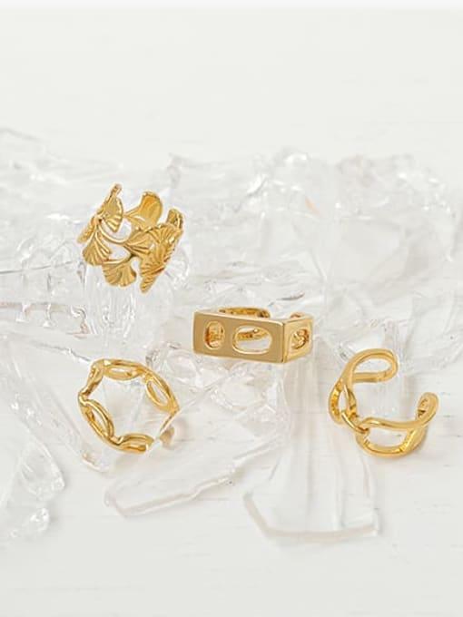 ACCA Brass Geometric Hip Hop Band Ring 0