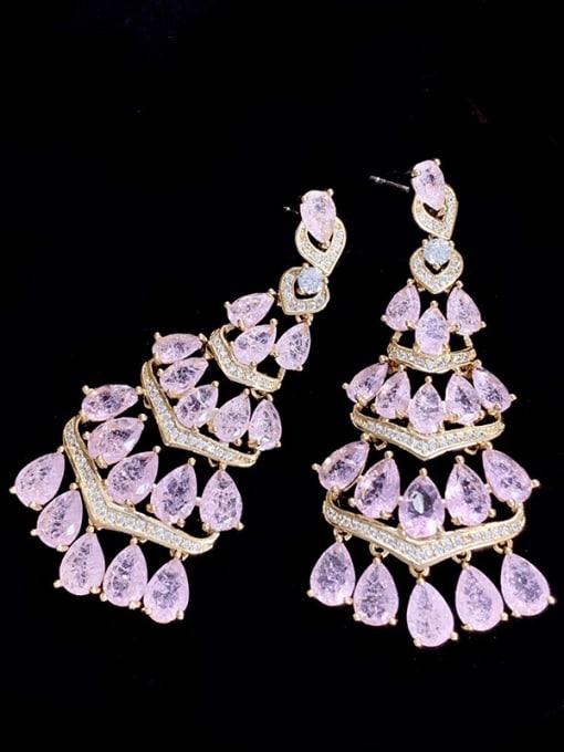 SUUTO Brass Cubic Zirconia Tassel Luxury Drop Earring 3