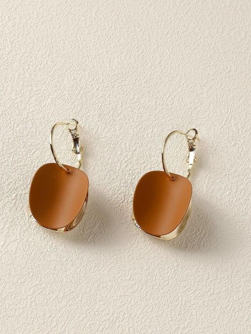 Dark coffee Brass Enamel Geometric Vintage Huggie Earring