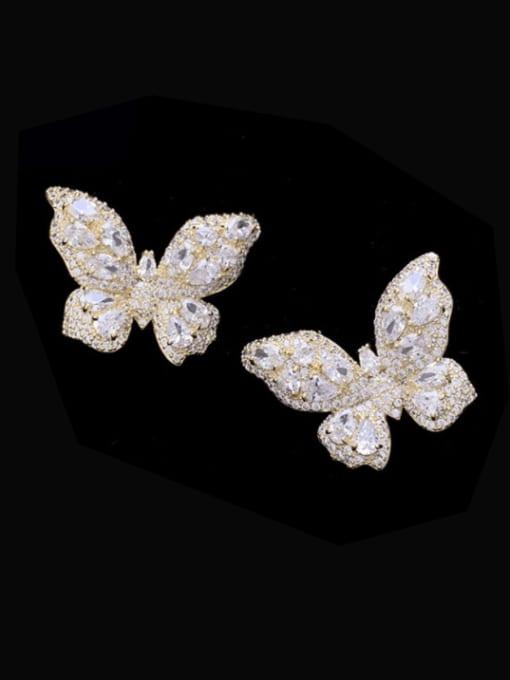 golden Brass Cubic Zirconia Butterfly Trend Stud Earring