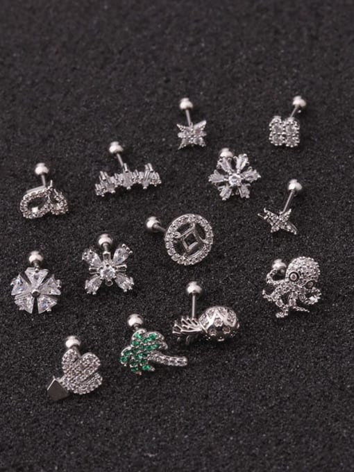 HISON Brass Cubic Zirconia Flower Cute Single Earring 1