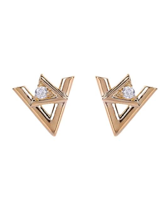OUOU Brass Rhinestone Triangle Minimalist Stud Earring 3