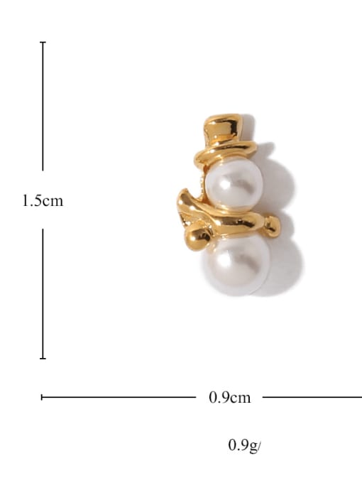 ACCA Brass Imitation Pearl Geometric Vintage Drop Earring 2