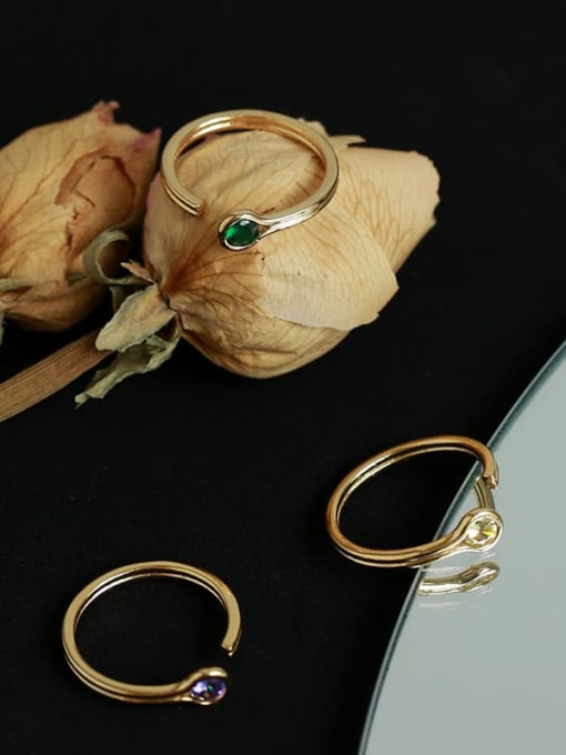 Five Color Brass Rhinestone Rainbow Minimalist Band Ring 4