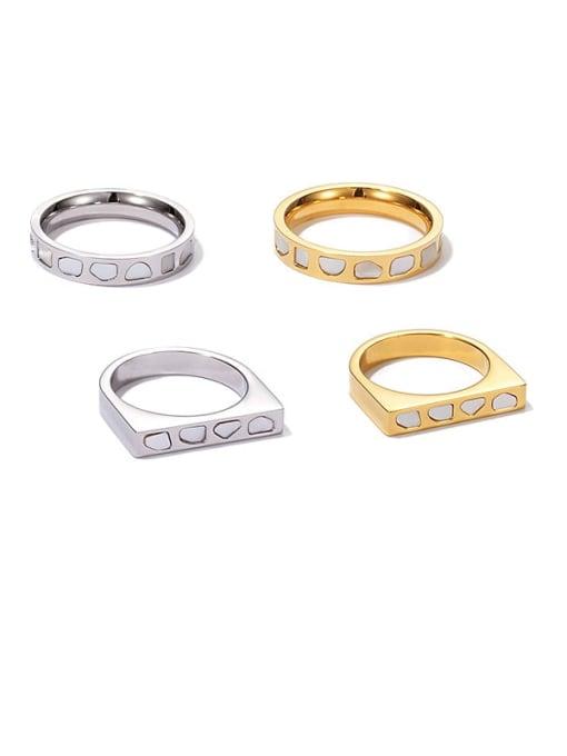 ACCA Titanium Steel Shell Geometric Minimalist Band Ring 0