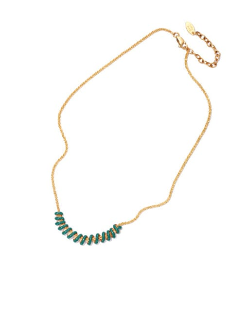 Green oil dripping Necklace Brass Enamel Geometric Vintage Necklace
