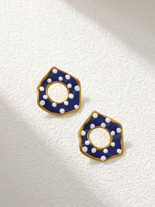 HYACINTH Brass Enamel Geometric Minimalist Stud Earring 3