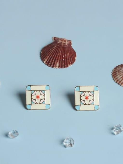 Five Color Alloy Enamel Geometric Minimalist Stud Earring