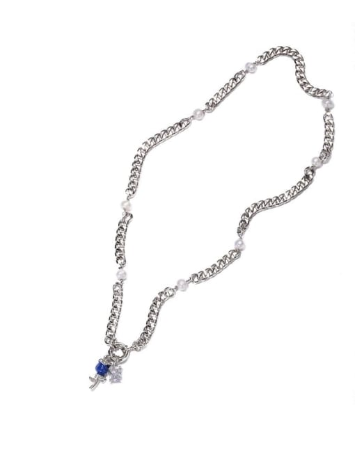ACCA Brass Cubic Zirconia Rosary Vintage Tassel Necklace