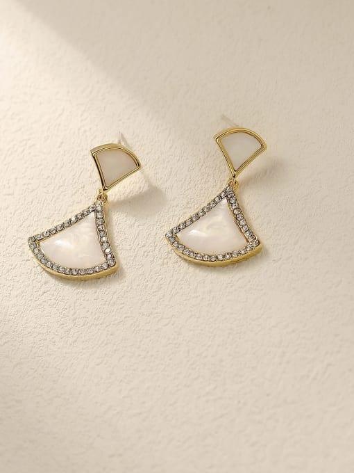 14k Gold Brass Shell Geometric Vintage Drop Earring