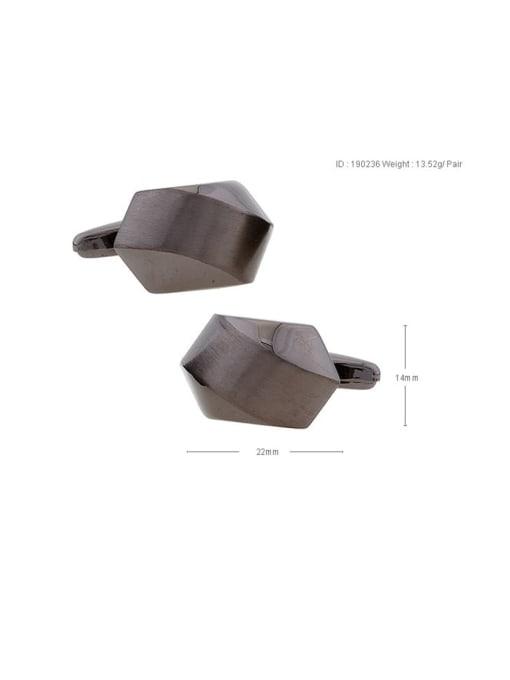 ThreeLink Brass Smooth Geometric Vintage Cuff Link 2