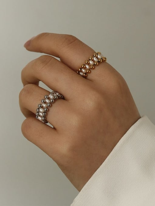 Five Color Stainless steel Imitation Pearl Geometric Minimalist Band Ring 1