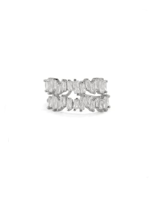 Platinum Brass Cubic Zirconia Geometric Vintage Band Ring