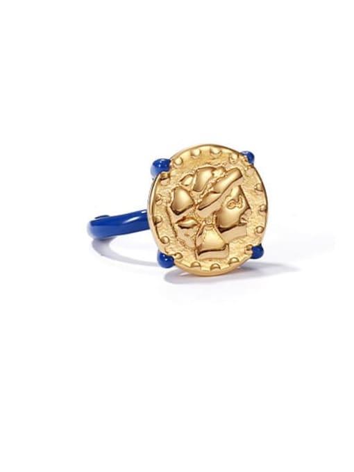 Oil dripping ring Brass Enamel Geometric Vintage Band Ring