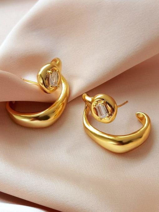 16K gold Brass Rhinestone Irregular Hip Hop Stud Earring