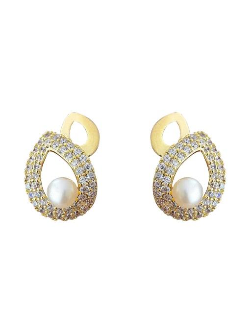 HYACINTH Brass Cubic Zirconia Water Drop Vintage Drop Earring